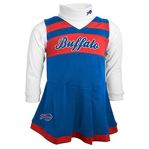 Nfl Cheerleader - OuterStuff NFL Buffalo Bills Girls Cheer Jumper Dress with Turtleneck Set, Royal, Large