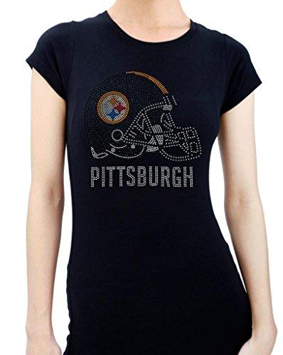 PITTSBURGH HELMET HANDMADE Rhinestone/stud Womens T-Shirts