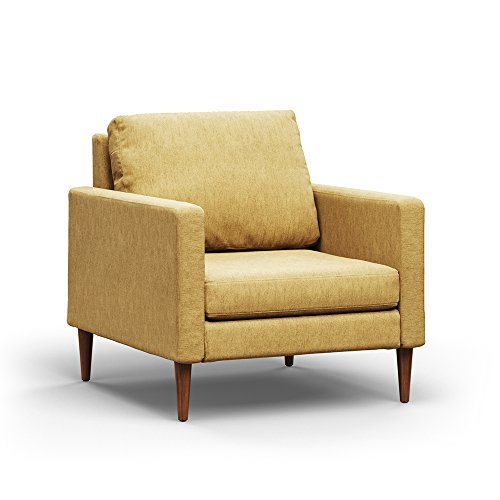Campaign Steel Frame Brushed Weave Accent Chair, 33 Inches, Harvest Yellow with Mahogany Stained Solid Oak Legs