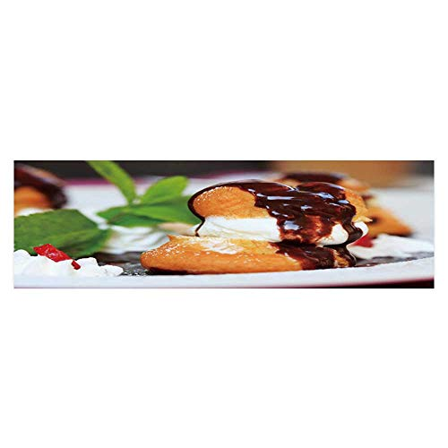 Dragonhome Fish Tank Decorations profiteroles with ice Cream Chocolate on Plate HD Fish Tank Decorations Sticker L35.4 x H19.6