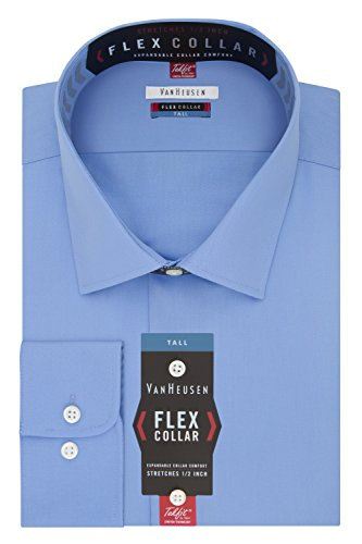 Van Heusen Men's Big Dress Shirts Tall Fit Flex Solid, Periwinkle, 17.5