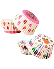 200pcs Cake Cups Muffin Cases Cupcake Molds, Cupcake Baking Cases Rainbow Baking Cups,2 Types Muffin Molds Paper Cases for Baking,Cupcake Muffin Liners for Wedding Birthday Party