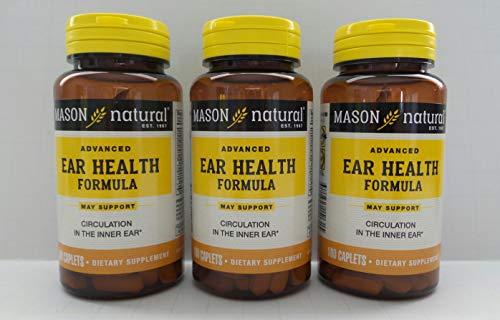 (Mason Natural Advance Ear Health Formula Bioflavonoids Plus 100 Caplets per Bottle Pack of 3 Total 300 Caplets)