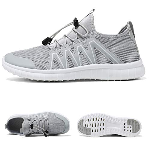 KEESKY Athletic Water Shoes for Women Grey Mesh Quick Drying Aqua Running Shoes Size 8 M