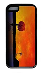 iPhone 5C Case, Personalized Protective Rubber Soft TPU Black Edge Case for iphone 5C - Autumn Sunset 2 Cover