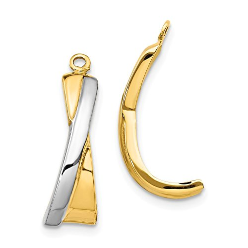 Roy Rose Jewelry 14K Yellow Gold Crossover J Hoop Earring Jackets ()