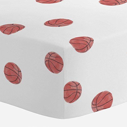 Carousel Designs Watercolor Basketball Crib Sheet - Organic 100% Cotton Fitted Crib Sheet - Made in the (Basketball Crib)