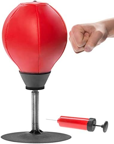 Upgraded Desktop Punching Bag Vertical Boxing Speed Ball Stress Buster Relief with Stand Boxing Punch Ball with Suction Cup to Reflex Strain and Tension Toys with Pump for Office Worker Adults Kids