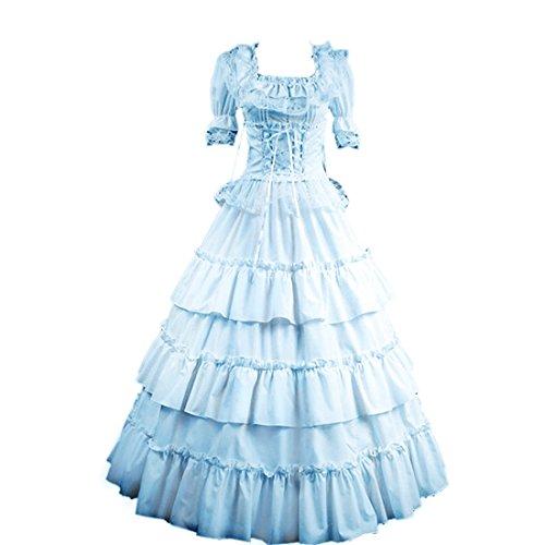 Partiss Women Multi-Layer Floor-length Gothic Victorian Lolita Dress, M, Light Blue