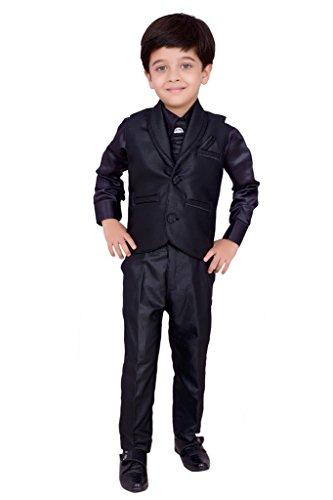 Boys Shirt Pant Waistcoat & Tie set Kids Wear by Arshia Fashions - 8-10 Years - Full Sleeves - Party Wear - Black