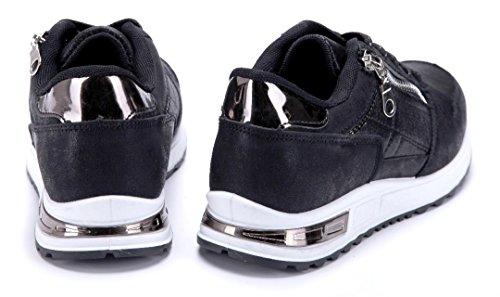 Flach Sneaker Schuhe Schuhtempel24 Damen Schwarz Low Reißverschluss n41Twq