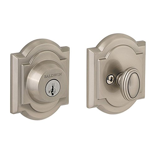 Prestige 380 ARB 15 SMT Deadbolt with Arch Rose, Single Cylinder Smartkey, Satin Nickel, Brass; Hardened Steel by Prestige