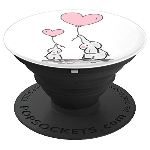 (Cute Baby Mom Elephant Pink Heart Balloons - PopSockets Grip and Stand for Phones and Tablets)