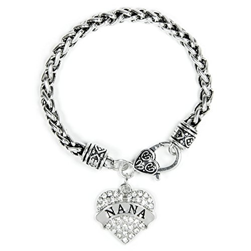 Elechobby Family Classic Silver Plated Pave Heart Clear Crystal Charm Bracelet (Nana)
