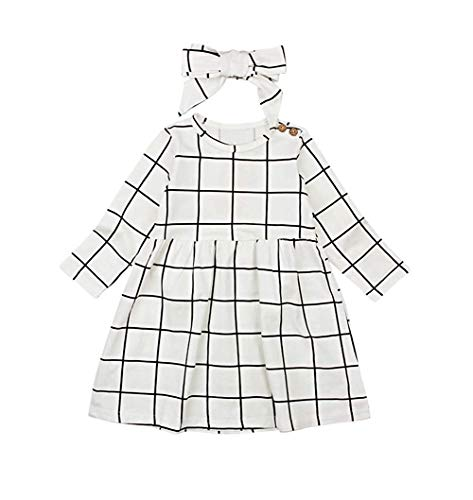 MILWAY Little Girls Black White Plaid Dress Long Sleeve Tops Shirt Playwear with Classic Bowknot Headband (130/3-4Years, White) -