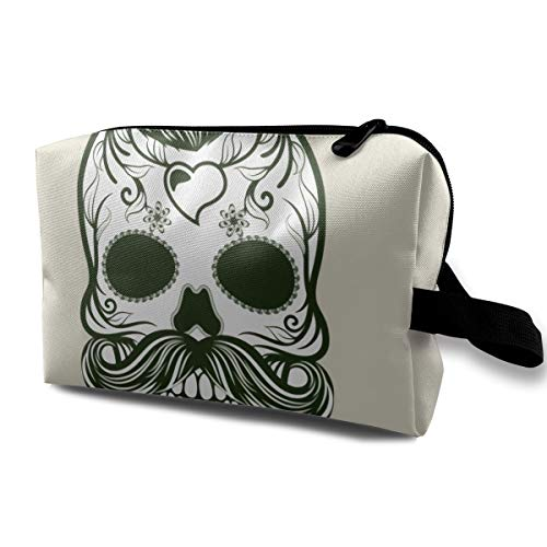 Scary Halloween Under Cut Beard Death Skull Multi-function Travel Makeup Toiletry Coin Bag Case