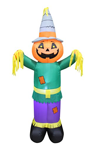 6 Foot Tall Happy Thanksgiving Halloween Inflatable Pumpkin Scarecrow LED Lights Decor Outdoor Indoor Holiday Decorations, Blow up Lighted Yard Decor, Giant Lawn Inflatables Home Family Outside -