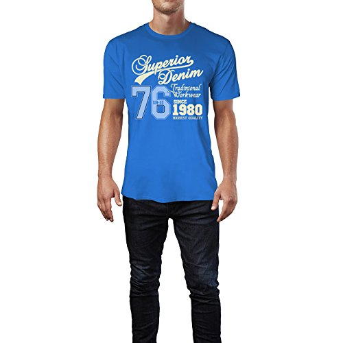 Sinus Art ® Herren T Shirt Superior Denim ( Royal_Blue ) Crewneck Tee with Frontartwork
