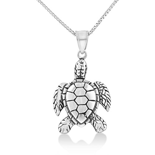 (Sterling Silver Kemps Sea Turtle Necklace (18