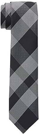 VAN HEUSEN Men's Check Tie Check Tie, Black (Black/Silver), One size