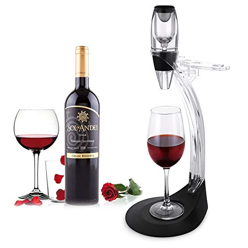 Vilapur Deluxe Wine Aerator Gift Set - Wine Accessories Kit with Wine Aerator Decanter, Storage Stand Tower, Best Gift for Wine Lover & Enthusiast