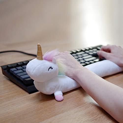 Unicorn Ergonomic Keyboard Wrist Rest 19, Plush Material with Microbead Filling, Full Standard Size (Rainbow)