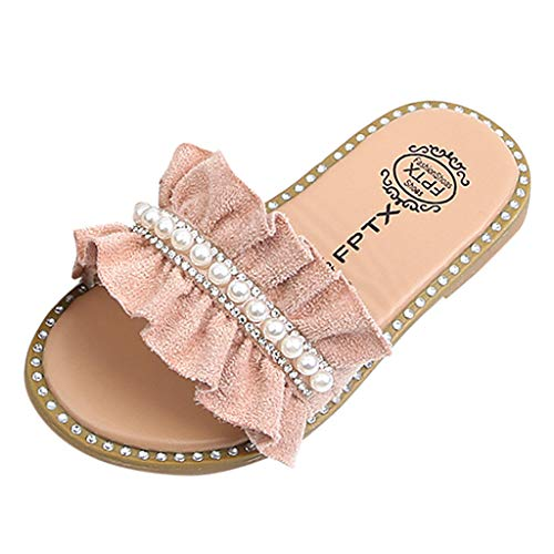 Riverdalin Baby Girls Slippers Pearls Crystal Ruffles Princess Shoes Mary Jane Sandals Outdoor Flats for Toddler Kids Girls Pink