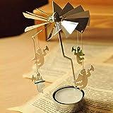 MSOO TAOtTAO Rotary Spinning Tealight Candle Metal Tea Light Holder Carousel Home Decor Gift (D)