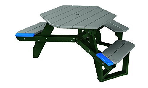 Kirby Built Products (ADA - 1 Chair) 4' Recycled Plastic Hex Table - Seats 5 People - Evergreen Frame - Gray