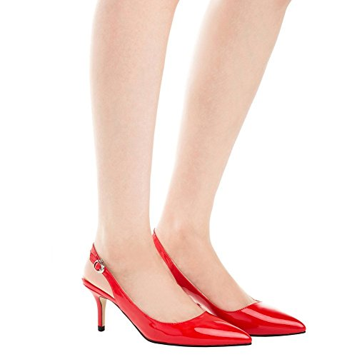 VOCOSI Women Fashion Kitten Heels Pointed Closed Toe Slingbacks Patent Dress Pumps Size 3-11 UK Red mlr7xPP3RM