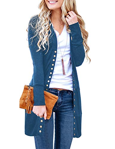 MEROKEETY Women's Long Sleeve Snap Button Down Solid Color Knit Ribbed Neckline Cardigans Teal