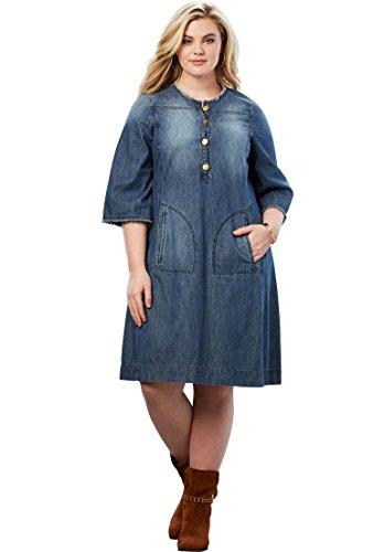 Women's Medium Roamans Denim Stonewash Shirt Size Plus Dress w676qPvZ