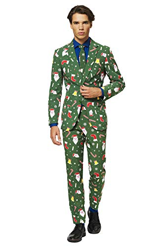OppoSuits Christmas Suits for Men in Different Prints - Santaboss - Ugly Xmas Sweater Costumes Include Jacket Pants & Tie - US 46 (Christmas Xxl Suit Ugly)