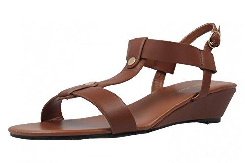 ANDRES MACHADO - Damen Keil-Sandaletten - Braun Schuhe in Übergrößen