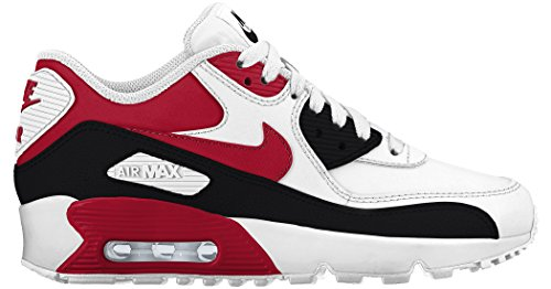 Nike GS Big Kids Air Max 90 Leather Fashion Shoes White/University Red/Black, 7 by NIKE