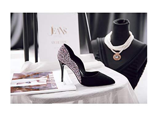 Escarpins Pointu À Et Avec Pour Bout Noir Sexy Femmes Chaussures rOqx0raX