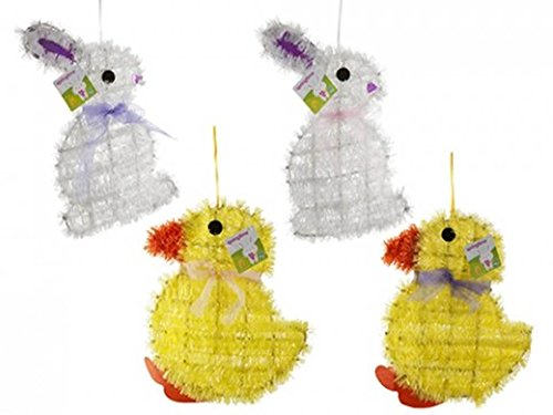 Pms 2ASSTD Springtime Tinsel  PLAQUES with Hang TAG (Tags Easter Hang)