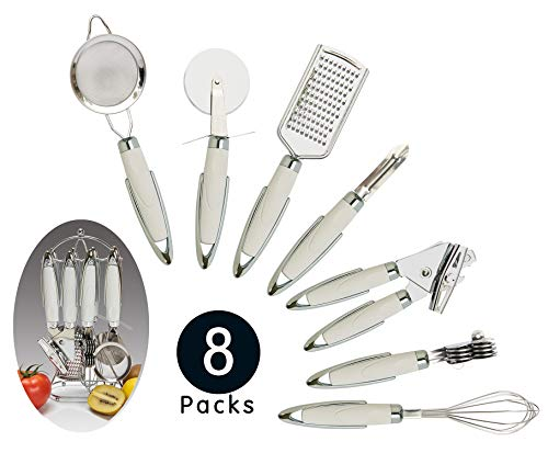 Sveetlife Gadgets Set 8-Piece Essential Kitchen Utensils Set Practical Design Stainless Steel Kitchen Tool Set with Utensil Holder for Cooking Meals Housewarming Gift