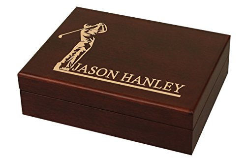 (Personalized Wood Mahogany Golf Ball Box with Space for 12 Balls (Trophy) (His Swing))