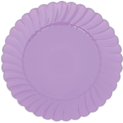 Lilac Tableware (Scalloped Premium Plastic Plates with Metal Trim Spring Party Reusable Tableware (20 Pieces), Lilac, 7 1/4