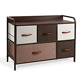 WeHome Dresser Organizer with 5 Drawers, Fabric Dresser Tower for Bedroom, Hallway, Entryway, Closets