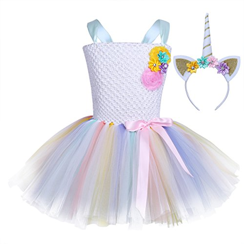 iEFiEL Kids Girls Princess Dress Fancy Costume Sleeveless Tutu Dress with Headband Cosplay Party Outfits Set Type B 2-3