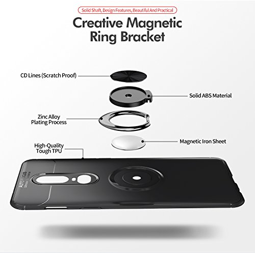OnePlus 6T Case with HD Screen Protector,I VIKKLY Slim Flexible and Durable Soft [TPU] 360 Degree Rotating Ring Kickstand Shockproof Case Fit Magnetic Car Mount for OnePlus 6T 6.4'' (2018) (Red) by I VIKKLY (Image #8)