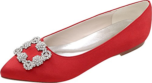 37 Work Heel Kitten Satin Toe Bride Comfort Bridesmaid Rhinestone Eu Party 2046 Wedding 06 Red Dress Smart Pumps 5 Ladies Fashion Prom Pointed PggSqR