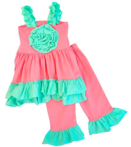 Girls Back To School The Serenity Capri Set Coral Mint Capri Set 3T/S (Made Outfit)