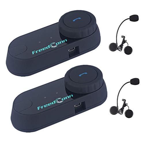 FreedConn Motorcycle Communication System, T-COMVB Helmet Bluetooth Headset Intercom for Motorbike Skiing (Pack of 2/Range-800meters/2-3Riders Pairing/Black)