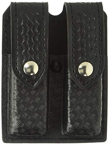 Safariland Duty Gear Glock 17, Chrome Snap Double Handgun Magazine Pouch (STX Basketweave Black)