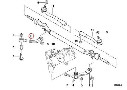 BMW Genuine Idler Steering Linkage Tie Rod Arm with Bushing E38 E39 740i 740iL 740iLP 750iL 750iLP 540i 540iP M5