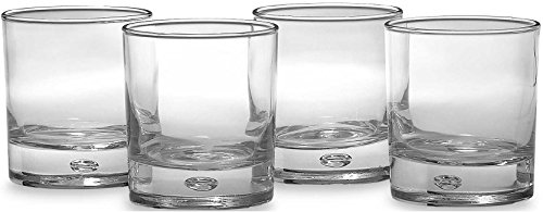 Circleware CG Oslo Double Old Fashioned Whiskey Drinking Glasses , Clear Heavy Base with Air Bubble Design in Glass, 10 Ounce, Set of 4