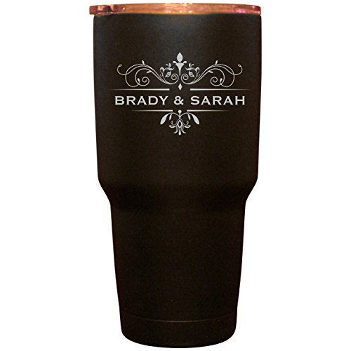 30 oz Black Matte Double Walled Insulated Tumbler- Customized Tumbler-Add Logo or Initials to Complete This Great Beverage Holder Lid with Gasket also Included